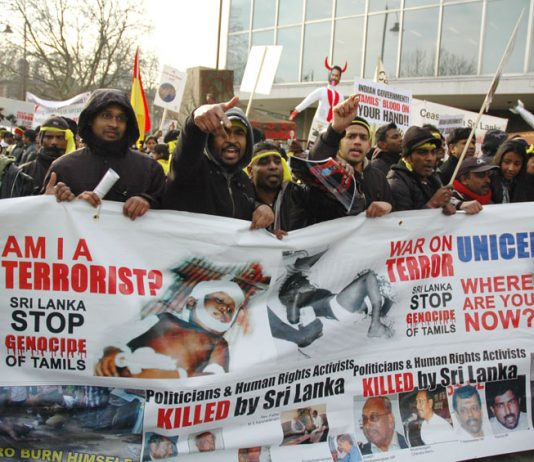 Demonstration in London in January 2009 against the Sri Lankan army massacre of Tamil civilians