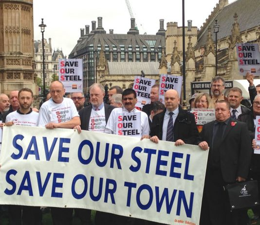 Steelworkers from Port Talbot, Teesside, Lincolnshire and Yorkshire lobbied parliament on October 28th. Many of them called for occupations and a national strike to secure the nationalisation of the steel industry