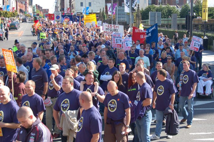Merseyside firefighters on a demonstration against cuts