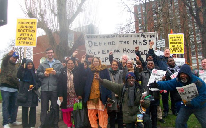 Yesterday's lively mass picket of Ealing Hospital of over 50 local residents, health workers and supporters to stop department closures