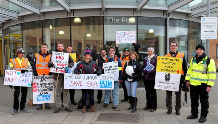 Junior doctors joined by ambulance workers and supporters on a picket line in Norwich during their last strike on December 12th 2015
