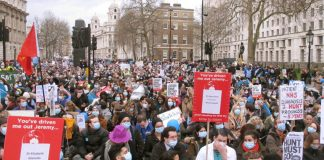 The sit-down in Whitehall after the 7,000-strong junior doctors marched to Downing Street