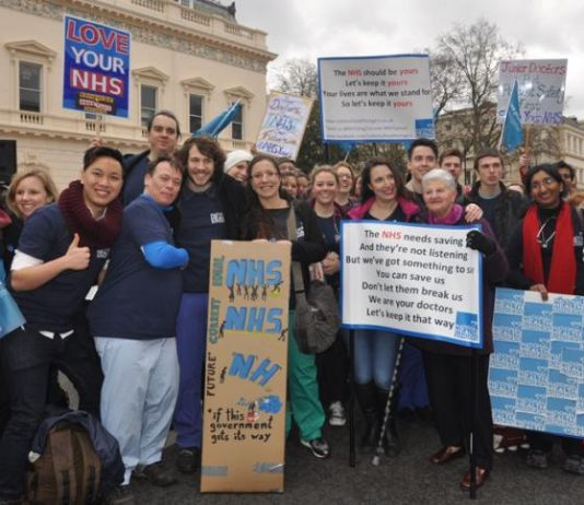 Junior doctors demonstrating three days before their last strike which won mass support