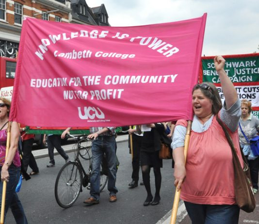 Lecturers at Lambeth College marching through Brixton during their strike action last year