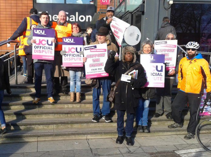 Unison and UCU strikers on the picket line at the College of North East London carrying out a one-day strike action against the proposal to continue with a pay freeze