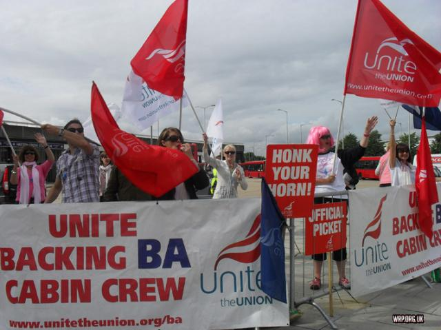 BA cabin crew during their strike against the imposition of a new wage-cutting contract