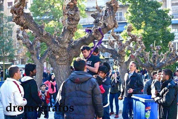 Picture shows the two refugees hanging from a tree in central Athens' Victoria Square. They had been extremely depressed after continual refusals to allow them to travel further into the EU