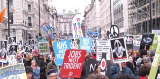 A section of the 60,000-strong 'Stop Trident' demonstration in London on Saturday