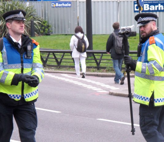 Police filming marchers on Saturday's demonstration against the Trident nuclear programme