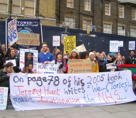Junior doctors were joined by other public sector workers as they assembled in Whitechapel for Thursday evening's march