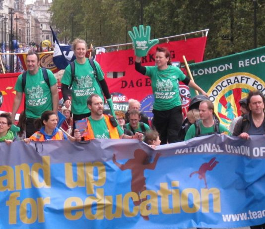 NUT members on the TUC march demanding that education is defended – 6th form college members are on strike today