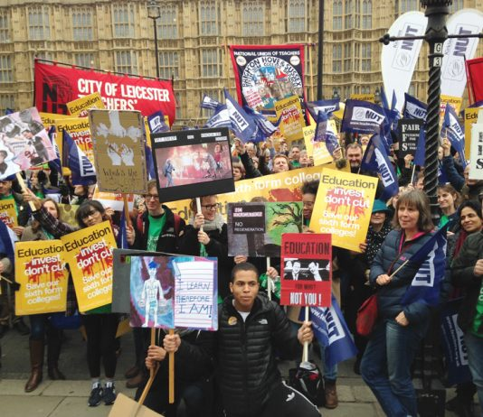 Striking sixth form teachers massed outside parliament yesterday against Tory cuts to education