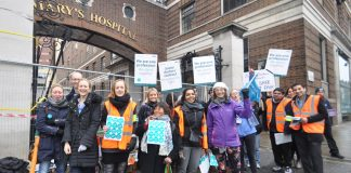 Striking junior doctors on the picket line at St Mary's Hospital in Paddington on March 10th