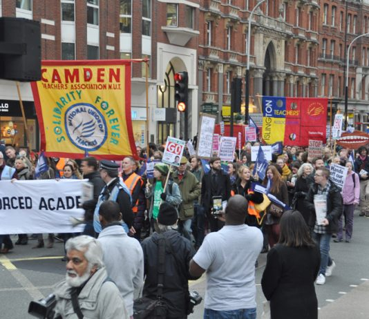 Over 5,000 teachers turned out for the emergency 'No forced academies' demonstration in central London on Wednesday night