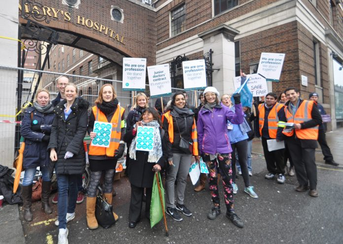 Junior doctors on the picket line at St Mary's Hospital in Paddingdon on 10th March – they have now stepped up their struggle