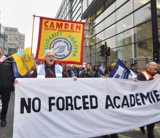Teachers marching against the Tories' forced academies – now the NUT conference has voted to scrap the 'Prevent Strategy'