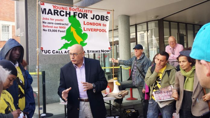 MANUEL HASSASSIAN, the PLO ambassador addresses YS marchers before their march to the TUC Congress in Liverpool. One of the march's demands is support for the Palestinian state