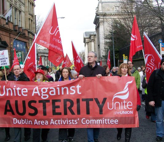 ICTU march against austerity – the EU has cut wages and living standards in Ireland massively plus forcing hundreds of thousands to leave the country