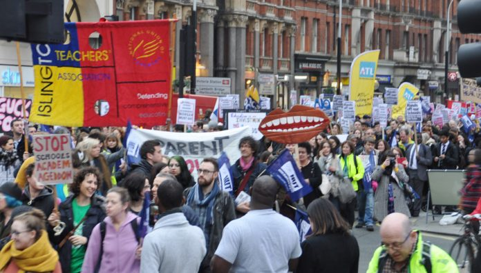 ATL and NUT banners on the 5,000-strong emergency 'No Forced Academies' demonstration in London on March 23rd