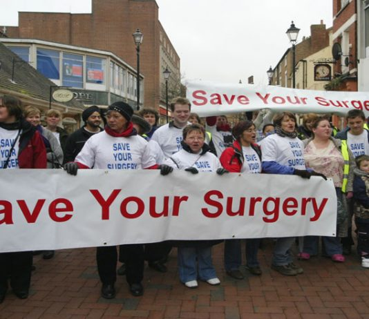 Demonstration in Rugby against GP surgery closures – 300 are threatened across England
