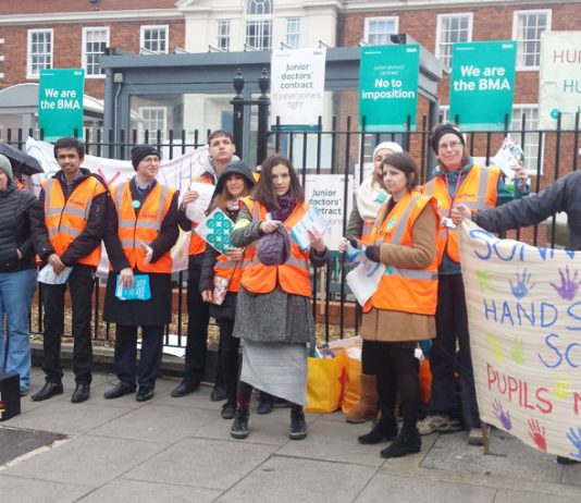 Teachers from Sunny Hill school in Southwark joined striking junior doctors on the picket line at Maudsley Hospital in Camberwell yesterday