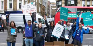 EMILY MILLS, NISA SEKHON and SAIRA SIDDIQUI were among the lively crowd of campaigning junior doctors outside Liverpool St station