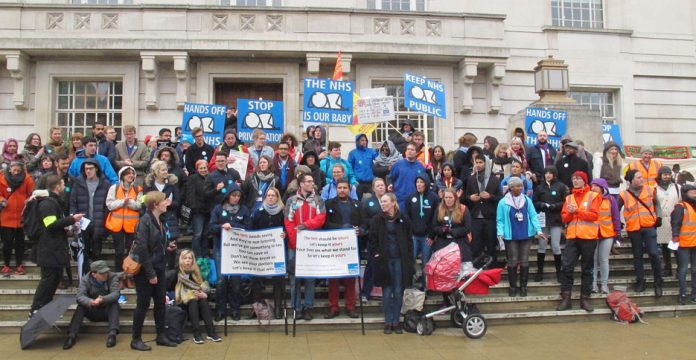 Mass rally of junior doctors and supporters outside Hackney Town Hall on the second day of their 48-hour strike