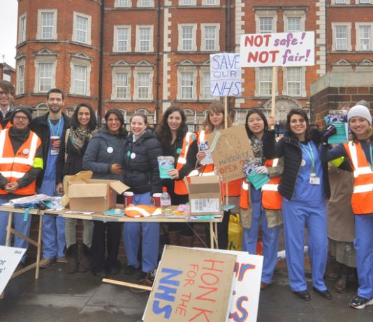 Junior doctors out in force on the picket line at Hammersmith Hospital in west London – they are escalating their strike against the Tories' imposed contract