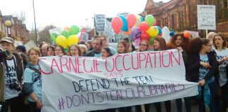 Over 1,500 supporters of the occupation of Carnegie Library marched through Brixton on Saturday demanding it be kept open