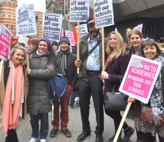 A group of Lambeth teachers on the emergency march against forced academies in central London on March 23rd