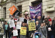 Local residents joined by trade unionists protested Monday night outside Camden Town Hall demanding 'Kill the Housing Bill'