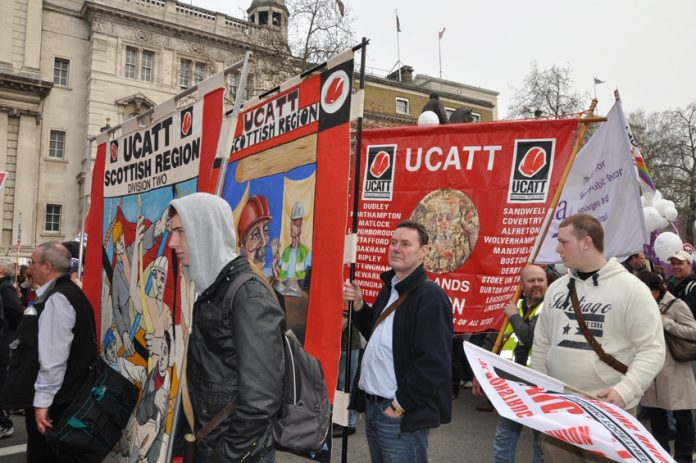 UCATT banners on a TUC demonstration against cuts – the union says new tax changes could cut take-home pay by over £3,000 a year