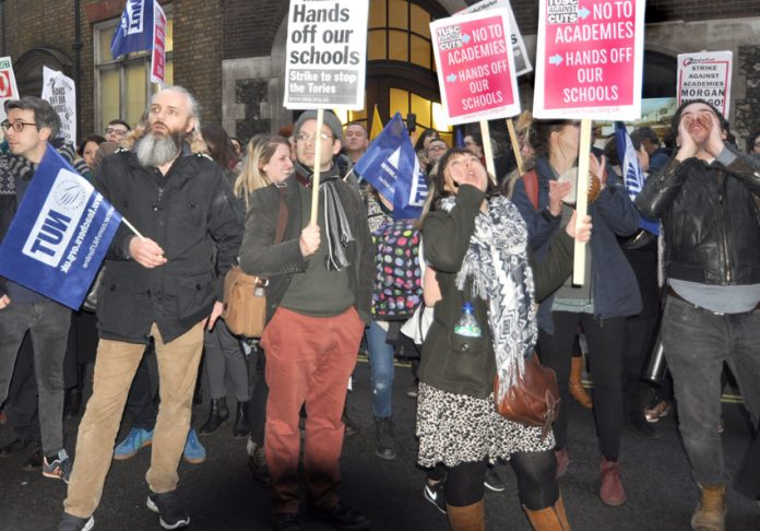 NUT and ATL members determined to defend state education lobbying against the mass forced academisation of schools