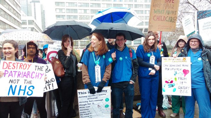 Junior doctors at St Thomas' Hospital in central London during the first day of last month's 48-hour strike