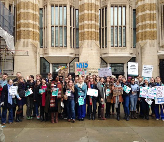 Junior doctors and nurses demonstrate outside the Department of Health against the imposed contracts and the ending of bursaries