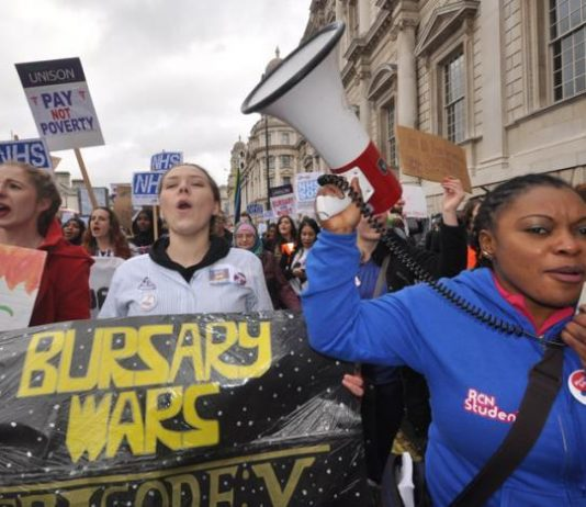 Student nurses fighting against the abolition of bursaries by the Tory government
