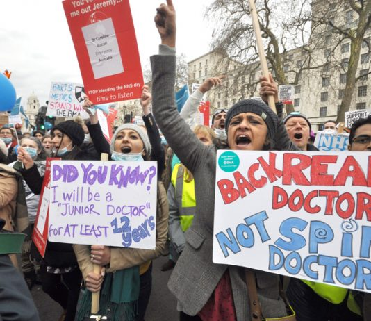 Junior doctors demonstrating outside Downing Street – over 2,000 doctors have sent a letter to Cameron and Hunt giving their full support to the junior doctors' struggle