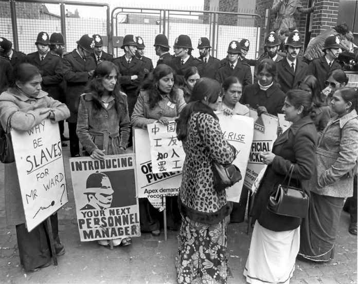 Strikers on the picket line at the Grunwicks mail order film processing plant in Willesden