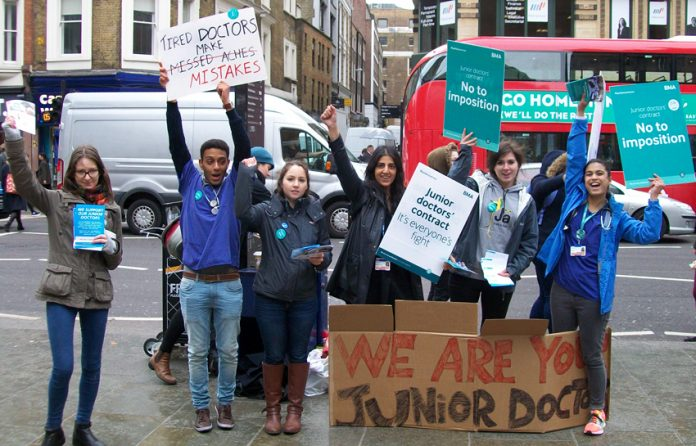 Junior doctors mass leaflet Liverpool Street Station during last month's strike – they are now escalating their struggle