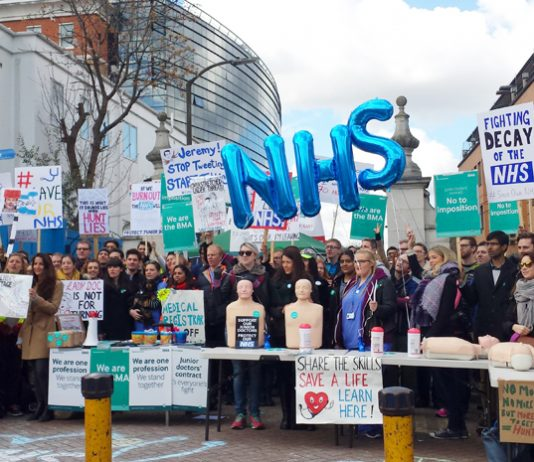 Hundreds turned out to picket at King's College Hospital in Camberwell