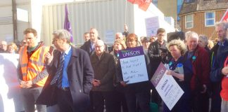 Unison leader PRENTIS with delegates from the Unison Health Conference joined the picket line at the Brighton General Hospital yesterday