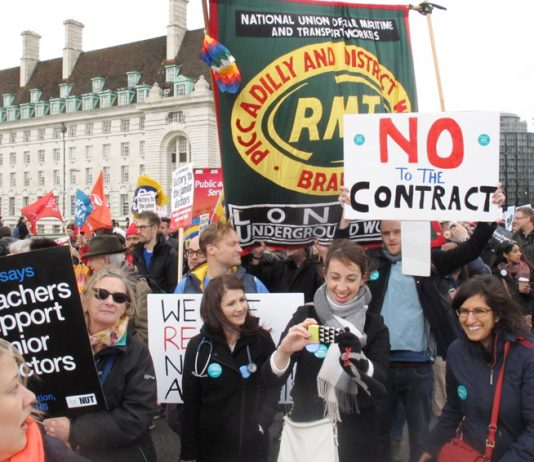 Striking junior doctors were joined by teachers and railway workers on Tuesday evening's 10,000-strong demonstration