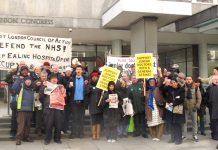 A section of the mass lobby of the TUC General Council yesterday, who had been asked by the PCS and FBU to call a Day of Action in support of junior doctors