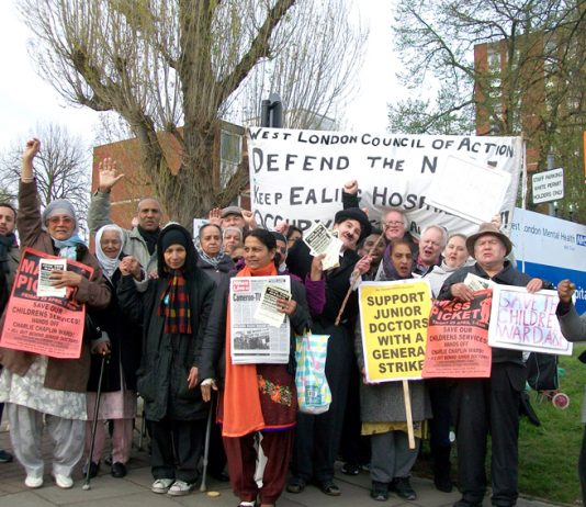 The mass picket at Ealing Hospital on Friday morning demanded that the closure of the Charlie Chaplin Children's Ward be stopped