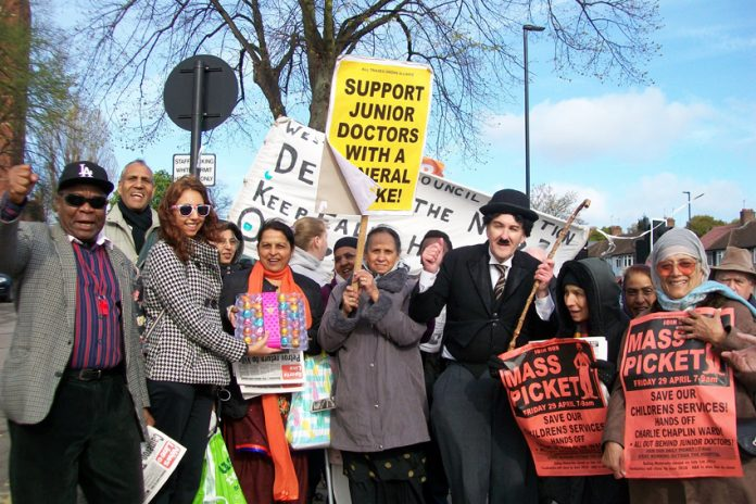 The 50-strong picket of Ealing hospital yesterday morning was presented with a gift by junior doctor Dr SHERGILL