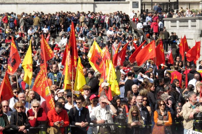 A section of the rally in Trafalgar Square