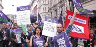 Unison public service workers on a TUC demonstration against government cuts