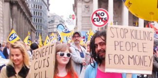 Workers demanding an end to benefit cuts – The government's Universal Credit means millions of people receiving less money