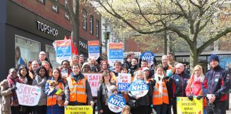 Junior doctors, firefighters, public sector workers and supporters demonstrate in central Norwich against Hunt's imposed contract