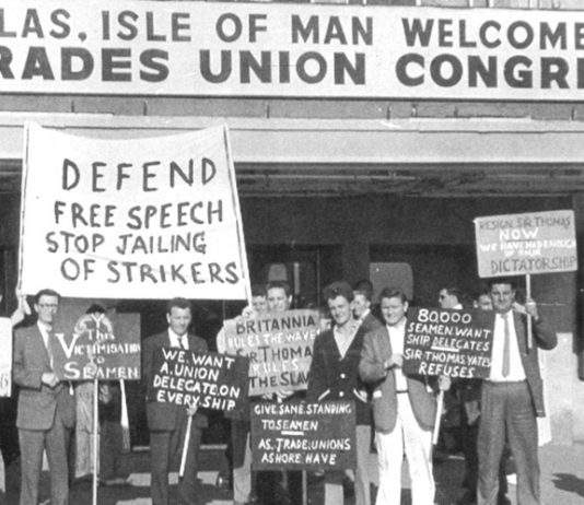 A protest outside the 1960 TUC congress in Douglas by supporters of the National Seamen's Reform Movement